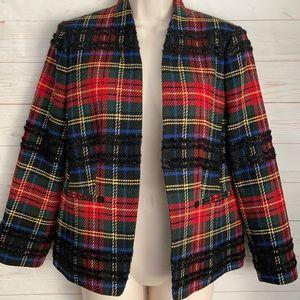J. Crew Sz 6 Plaid Wool Blend Open Blazer Jacket